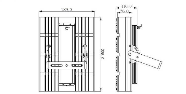 LED隧道灯200W产品尺寸图