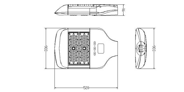 LED路灯60W-80W-100W灯具尺寸图