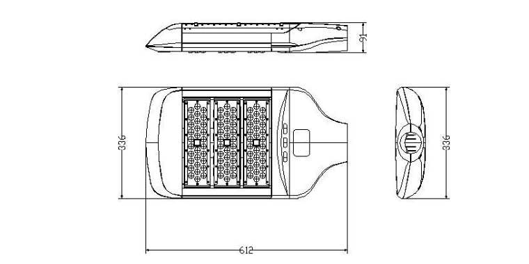 LED路灯90W-120W-150W灯具尺寸图
