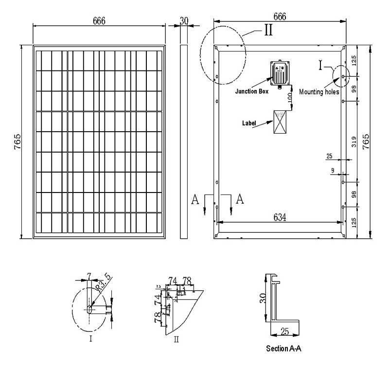 65W-80W-18V多晶硅太阳能板 尺寸图