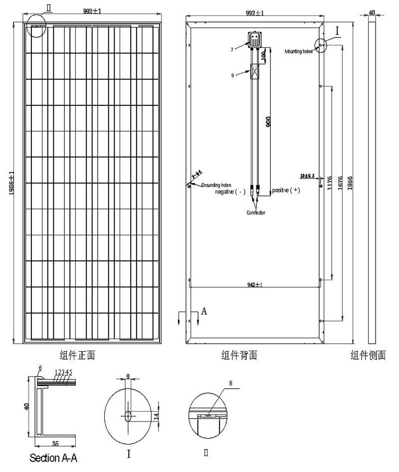310W-320W-36V多晶硅太阳能板 尺寸图