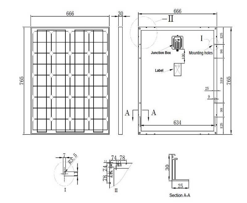 单晶硅太阳能板80W 尺寸图