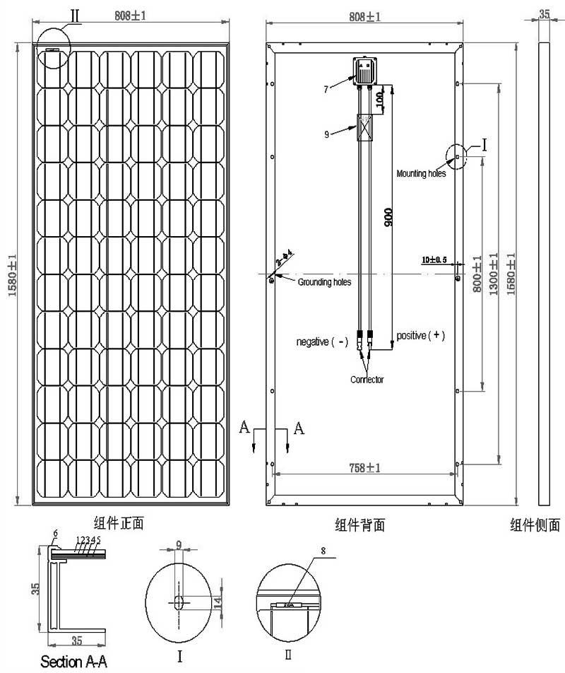 190W-205W单晶硅太阳能板 尺寸图
