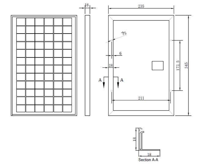10W-12W-18V小型太阳能板组件尺寸图