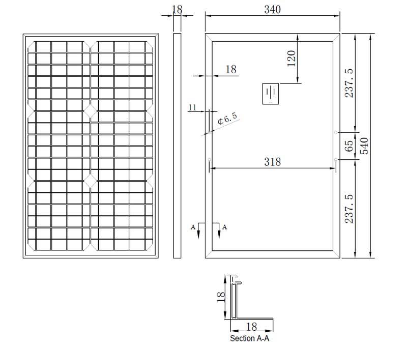 30W-18V小型太阳能板组件尺寸图