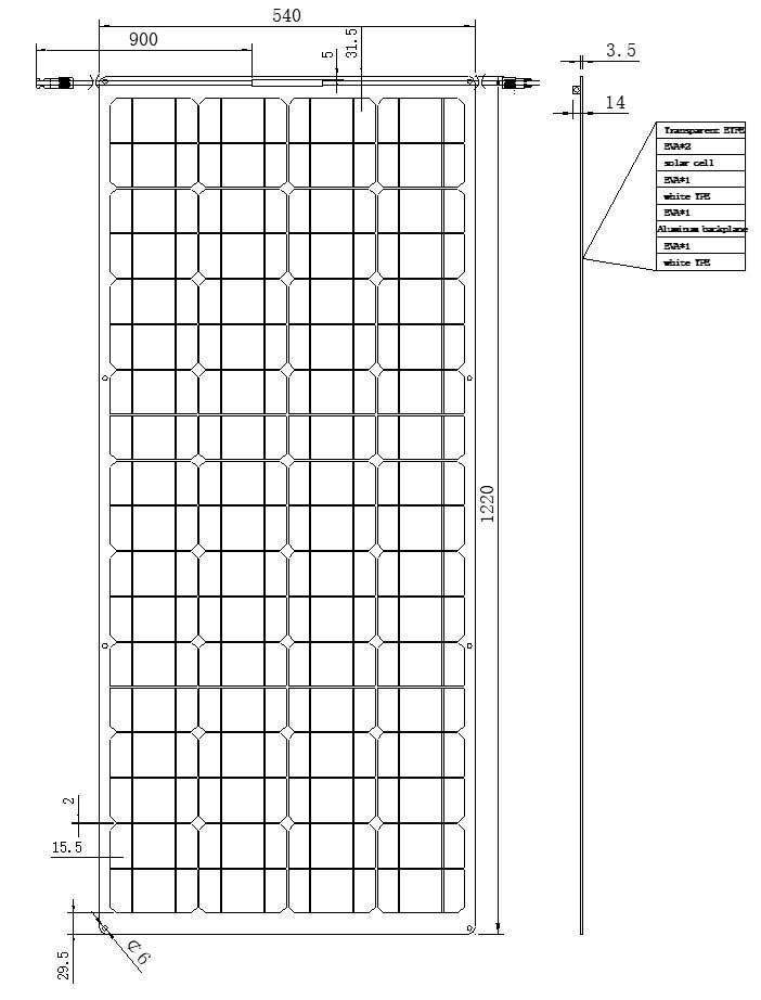 90W-36V半柔性太阳能板 尺寸图