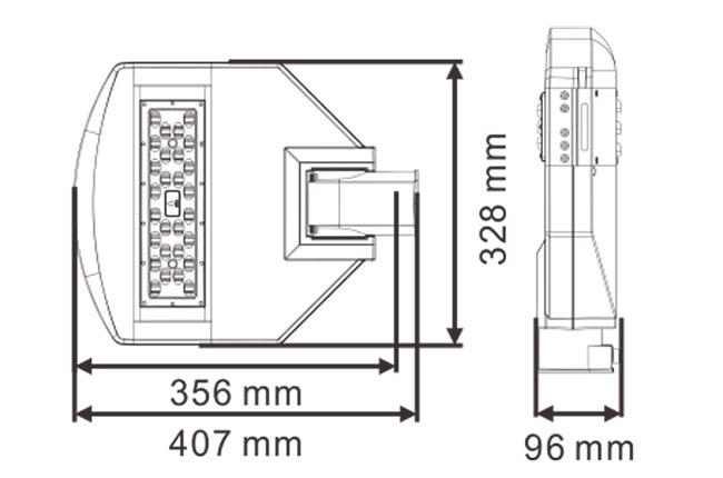 LED路灯U-SL0301-50W 产品尺寸图