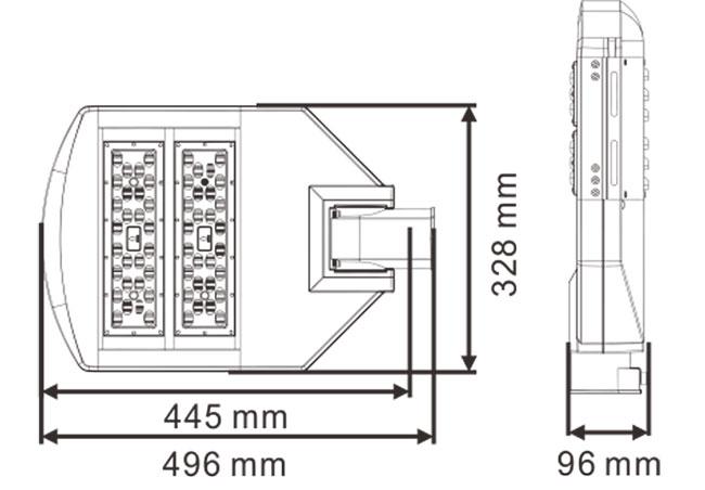 LED路灯U-SL0302-100W 产品尺寸图