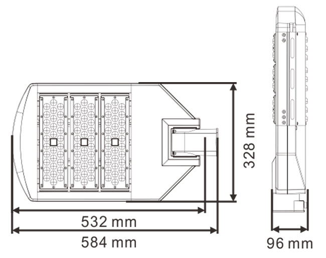 LED路灯U-SL0303-150W 产品尺寸图