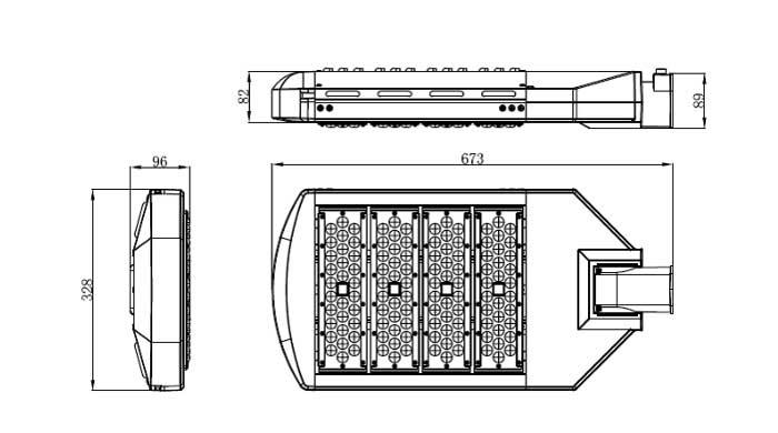 LED路灯U-SL0304-200W 产品尺寸图
