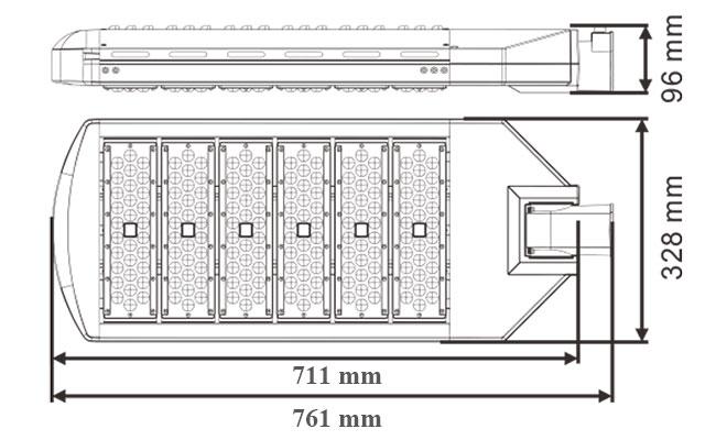 LED路灯U-SL0305-250W 产品尺寸图