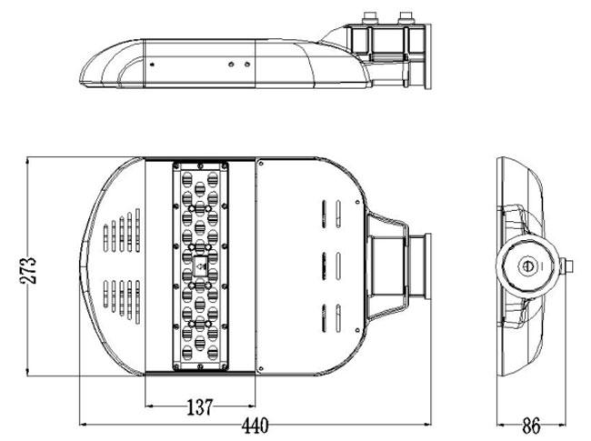 LED路灯U-SL1201-40W 产品尺寸图