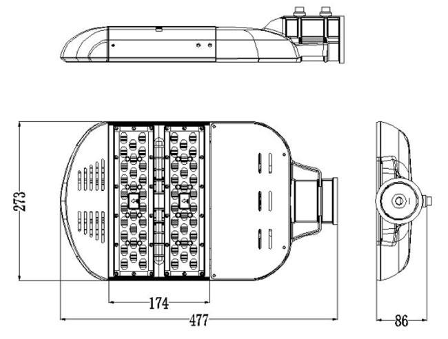 LED路灯U-SL1202-80W 尺寸图