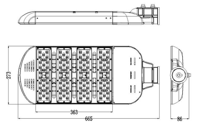 LED路灯U-SL1204-180W 尺寸图