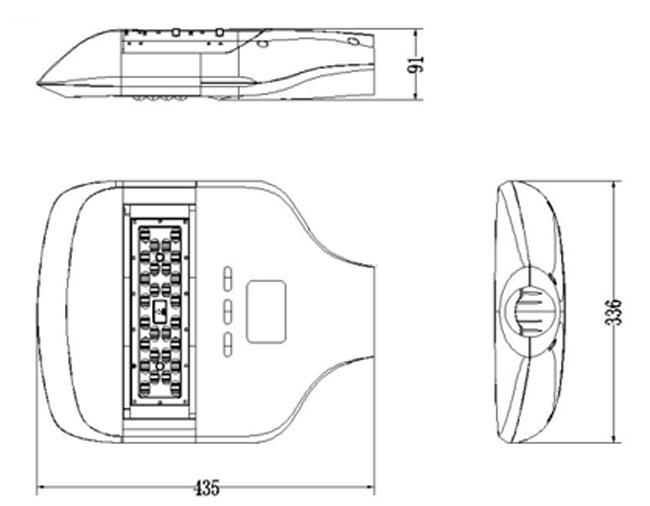 LED路灯U-SL1301-60W 尺寸图