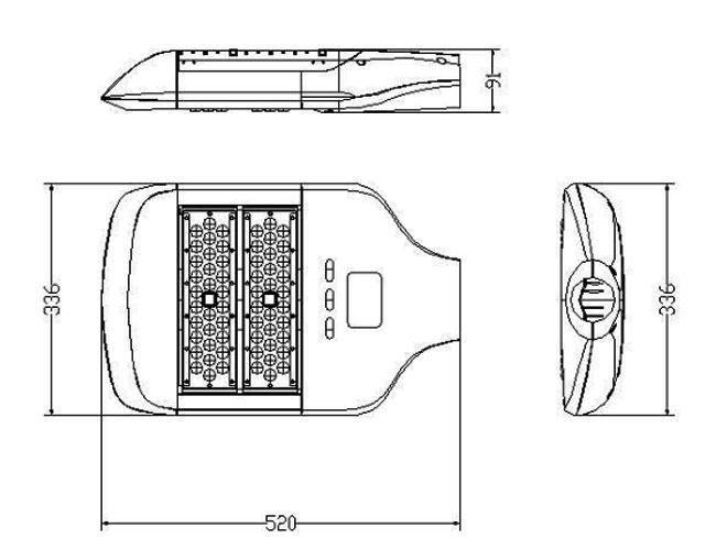 LED路灯U-SL1302-120W 路灯尺寸图