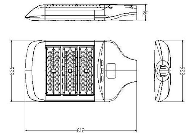 LED路灯U-SL1303-150W 路灯尺寸图