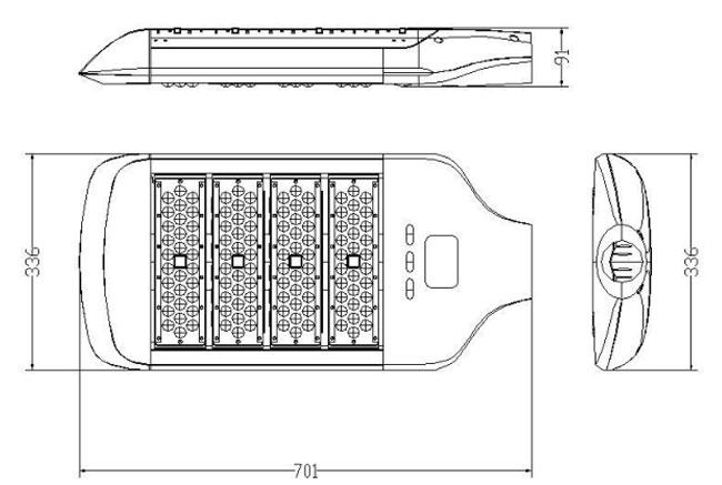 LED路灯U-SL1304-200W 路灯尺寸图