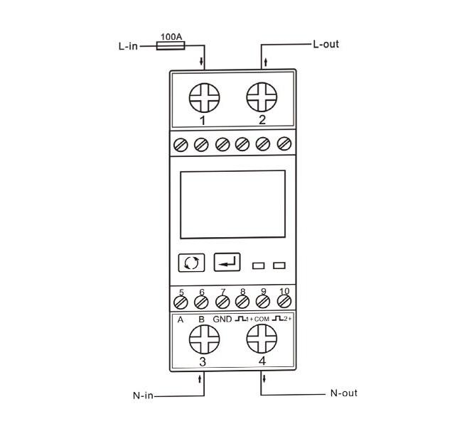 多功能单相电表SDM230-Modbus 100A RS485 连接线示意图