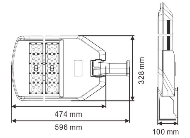 LED路灯U-SL1602-120W 尺寸规格