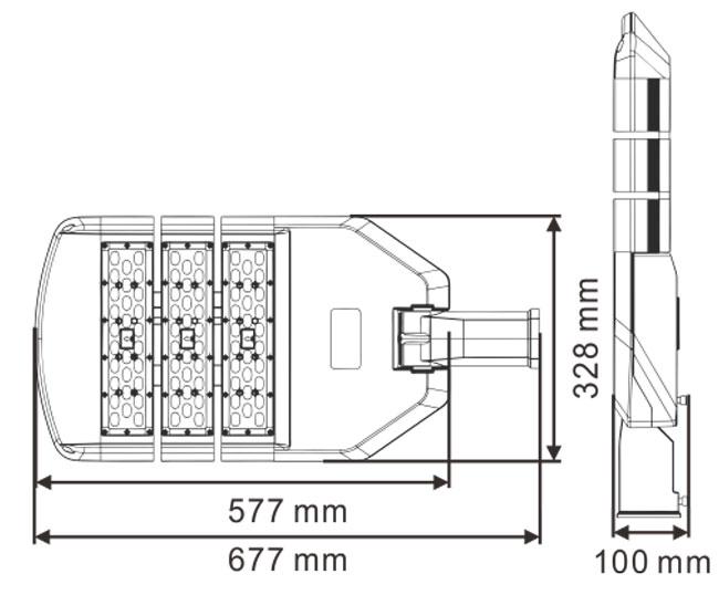 LED路灯U-SL1603-150W 尺寸规格