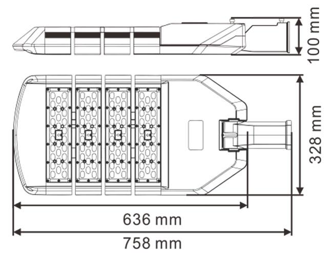 LED路灯U-SL1604-200W 尺寸规格