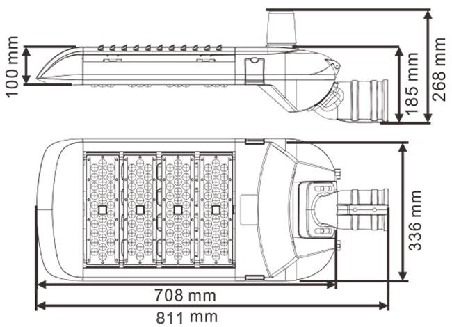 LED路灯U-SL1804-200W 尺寸规格