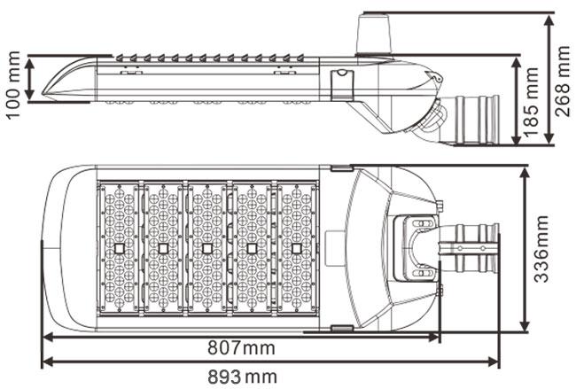 LED路灯U-SL1805-250W 尺寸规格