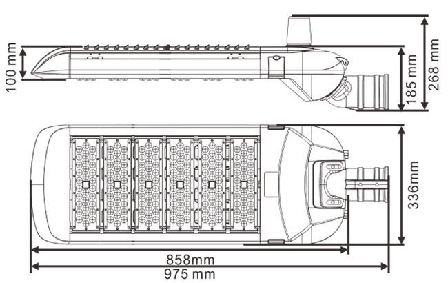 LED路灯U-SL1806-300W 尺寸规格