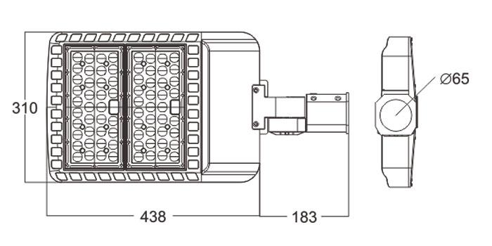 LED路灯U-SL0102-120W-150W规格尺寸图