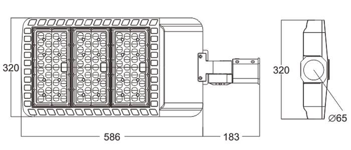 LED路灯U-SL0103-180W-240W规格尺寸图