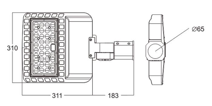 LED路灯U-SLXH0101-60W-80W规格尺寸图