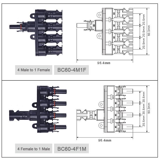 光伏分支连接器,四进一出连接器