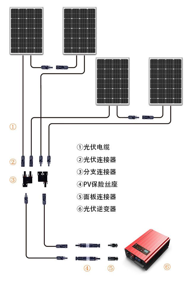 MC4光伏连接器开口端子太阳能供电系统