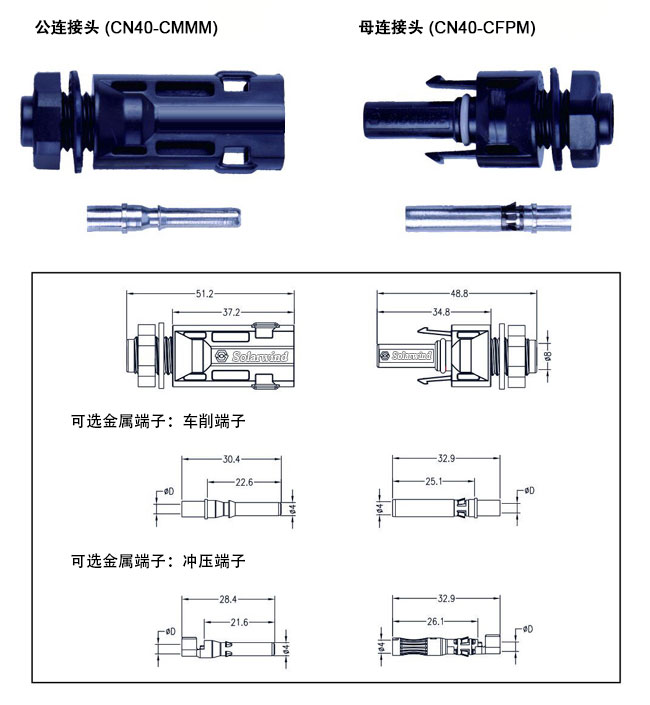 MC4面板连接器参数规格