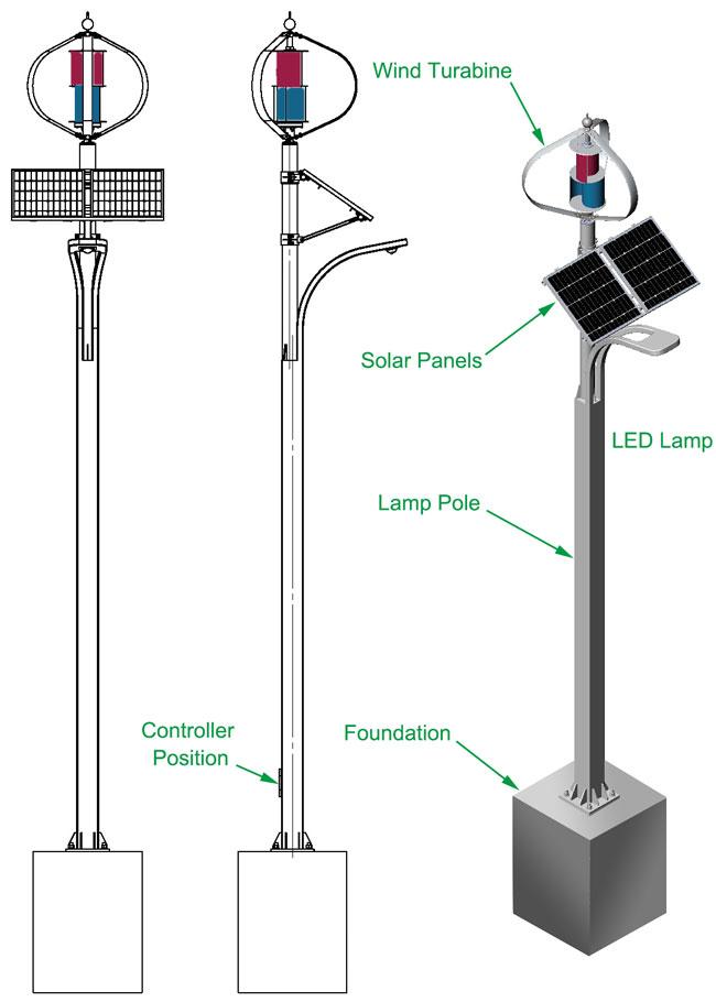 风光互补路灯系统灯杆