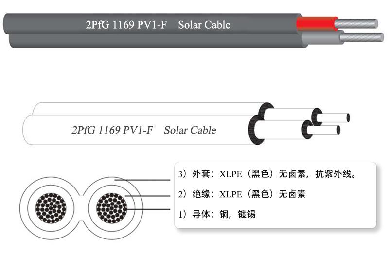 2PfG 1169 PV1-F 光伏电缆, 双芯电缆
