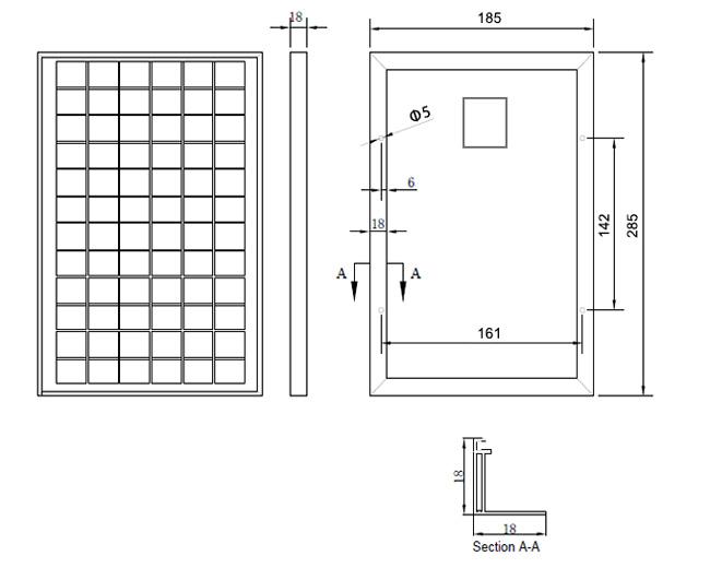 5W-6W-18V小型太阳能板组件尺寸图 光伏组件