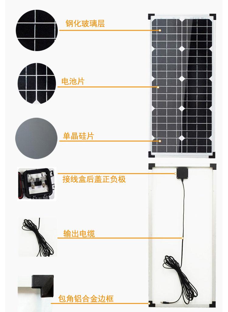 40W-18V小型太阳能板, 40W太阳能电池板特点
