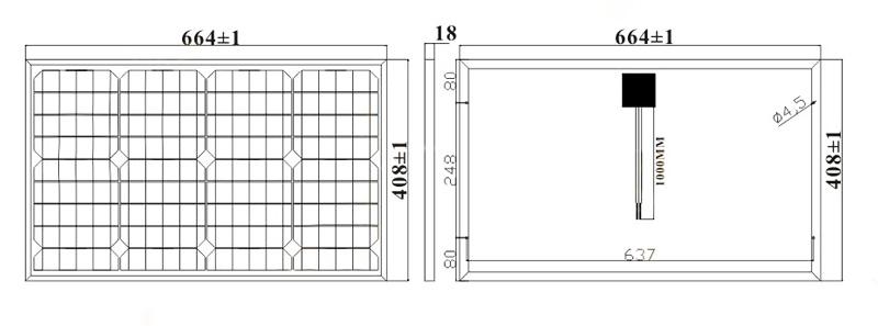 40W-18V小型太阳能板, 40W太阳能电池板尺寸图